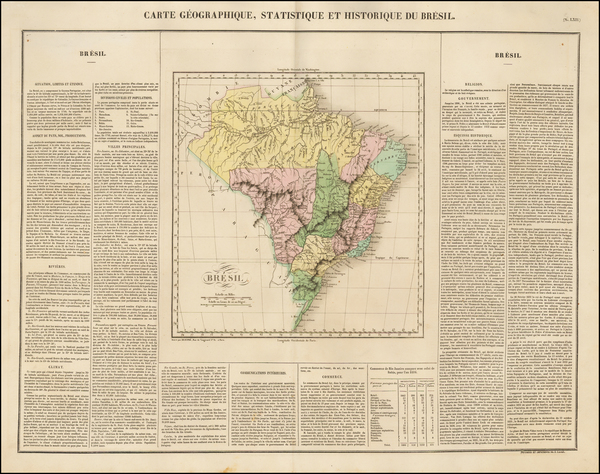 46-South America and Brazil Map By Jean Alexandre Buchon