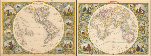38-World, Eastern Hemisphere, Western Hemisphere, South America and America Map By John Tallis