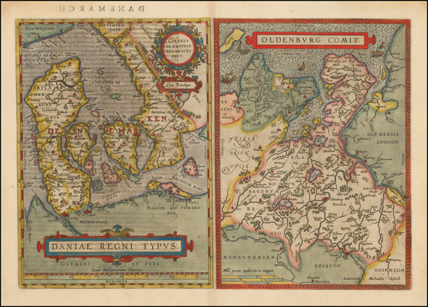 36-Germany and Denmark Map By Abraham Ortelius