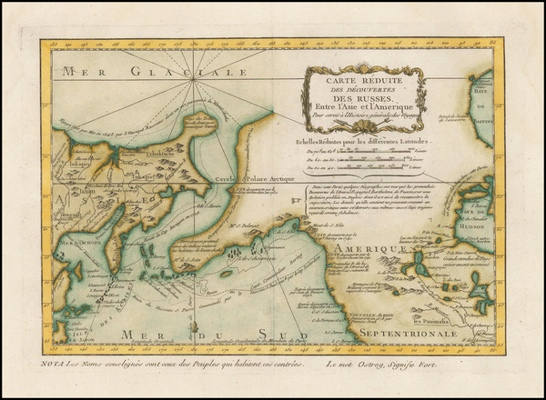 72-Polar Maps, Alaska, Canada and Russia in Asia Map By Jacques Nicolas Bellin