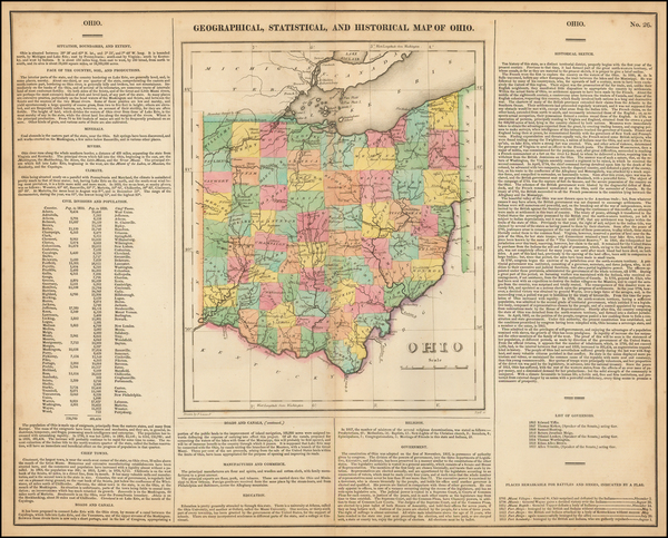 16-Ohio Map By Henry Charles Carey  &  Isaac Lea