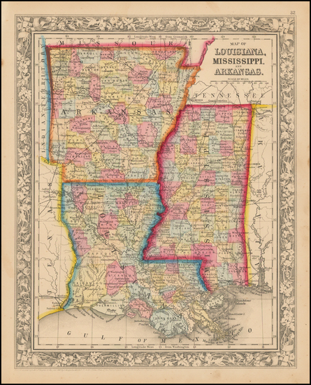 70-South, Louisiana, Mississippi and Arkansas Map By Samuel Augustus Mitchell Jr.
