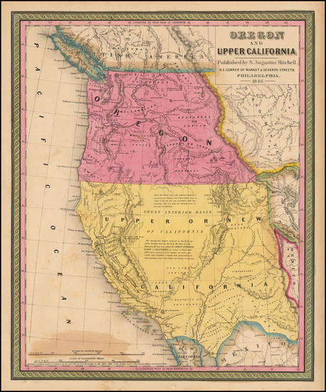68-Southwest, Rocky Mountains, Oregon and California Map By Samuel Augustus Mitchell