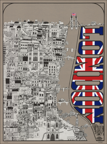 53-British Isles, England, London and Pictorial Maps Map By David Schiller