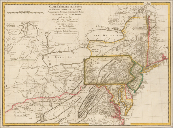 71-Mid-Atlantic and Midwest Map By Pierre Antoine Tardieu / Louis Evans