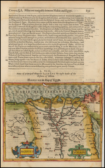 Egypt Map By Jodocus Hondius / Samuel Purchas