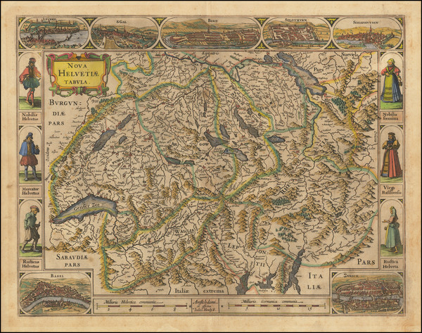 Switzerland Map By Jodocus Hondius