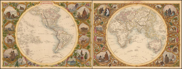 67-World, Eastern Hemisphere, Western Hemisphere, South America and America Map By John Tallis