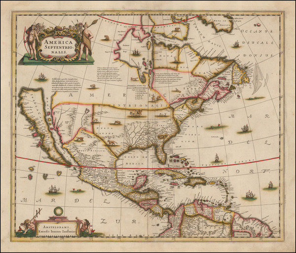 5-North America and California as an Island Map By Henricus Hondius / Jan Jansson