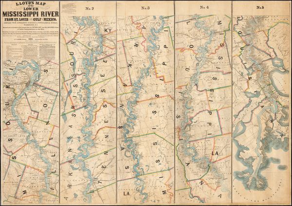 90-South, Louisiana, Mississippi, Midwest and Missouri Map By J.T. Lloyd