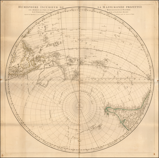 Polar Maps, Indian Ocean, Pacific, Australia and New Zealand Map By Chrysologue Noel Andre
