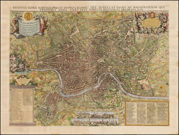 78-Italy and Rome Map By Jacob Sandrart / Giovanni Battista  Falda