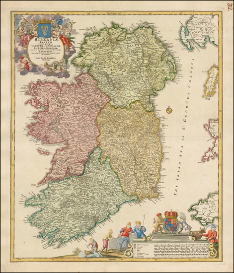 58-Ireland Map By Johann Baptist Homann