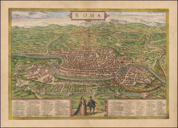 40-Rome Map By Georg Braun  &  Frans Hogenberg