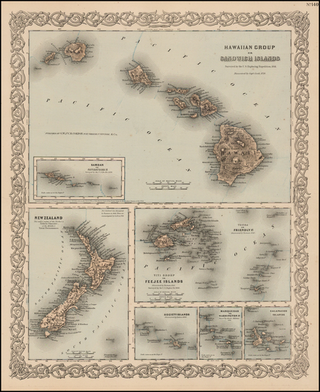 83-Hawaii, Hawaii and Other Pacific Islands Map By Joseph Hutchins Colton