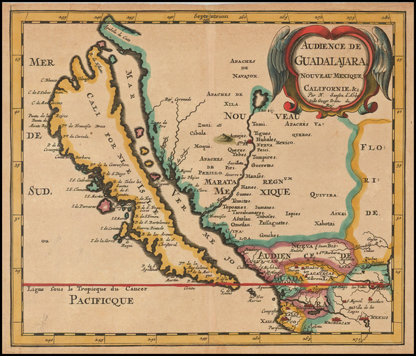 90-Southwest, Mexico, Baja California and California Map By Nicolas Sanson