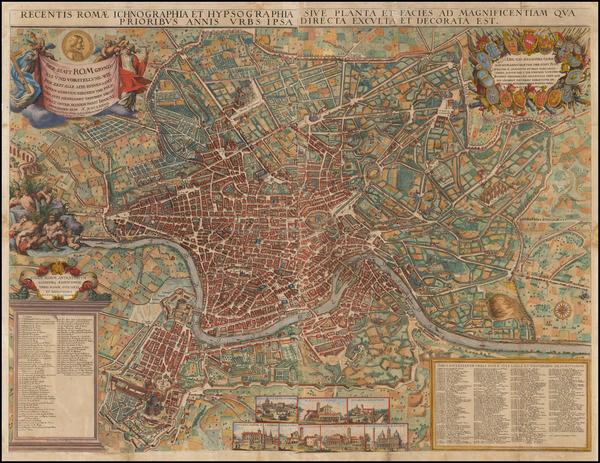 24-Italy and Rome Map By Jacob Sandrart / Giovanni Battista  Falda
