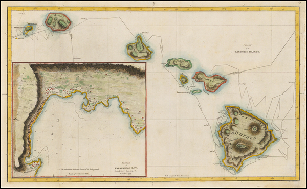 63-Hawaii and Hawaii Map By James Cook