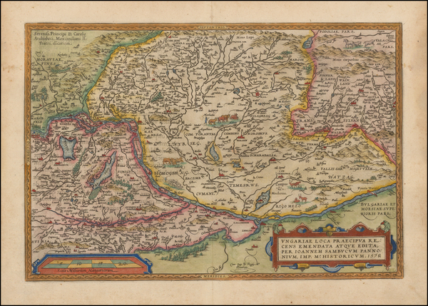 59-Austria, Hungary, Romania and Balkans Map By Abraham Ortelius