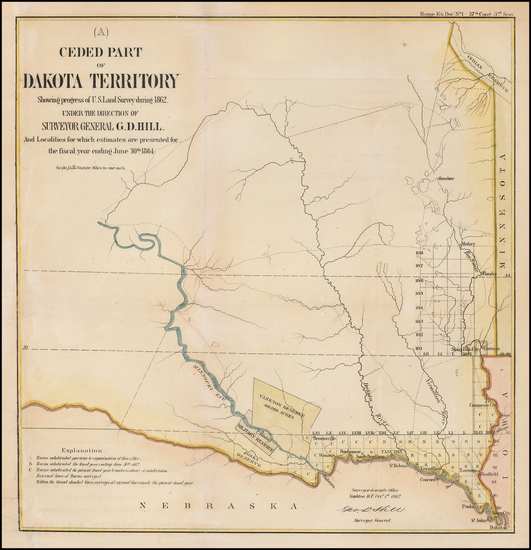24-Plains and South Dakota Map By U.S. General Land Office Survey