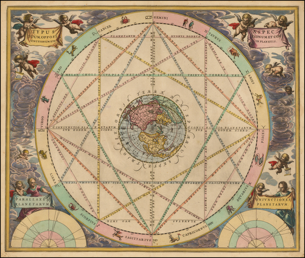 Northern Hemisphere, Polar Maps, Celestial Maps and California as an Island Map By Andreas Cellarius