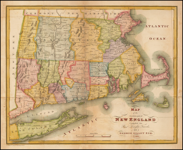 37-New England Map By George Gillet