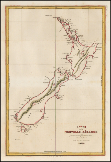32-New Zealand Map By Jules Sebastian Cesar Dumont-D'Urville