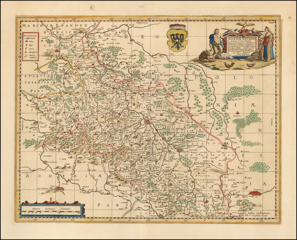 Poland and Czech Republic & Slovakia Map By Henricus Hondius