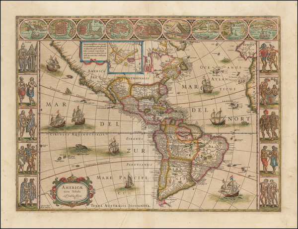 36-North America, South America and America Map By Willem Janszoon Blaeu