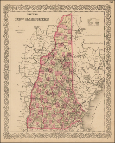 35-New England and New Hampshire Map By G.W.  & C.B. Colton