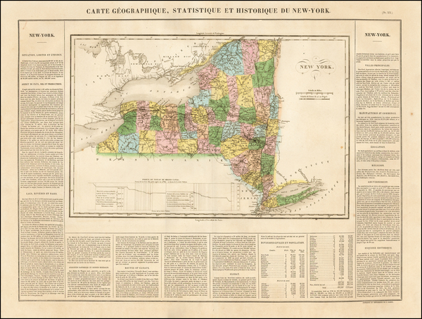 57-New York State Map By Jean Alexandre Buchon