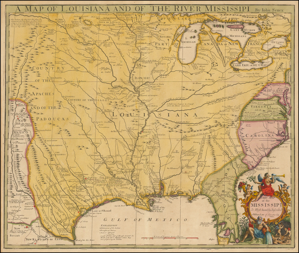 40-United States, South, Southeast, Texas, Midwest and Plains Map By John Senex
