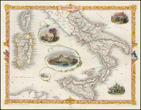 77-Italy, Southern Italy and Balearic Islands Map By John Tallis