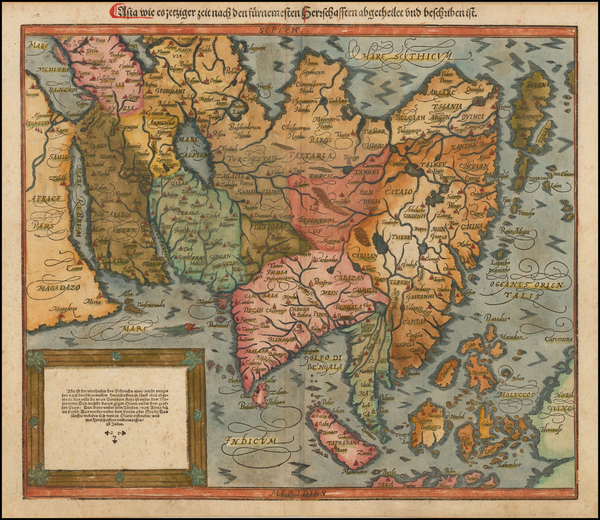52-Indian Ocean, Asia, Asia, Japan and Southeast Asia Map By Sebastian Munster