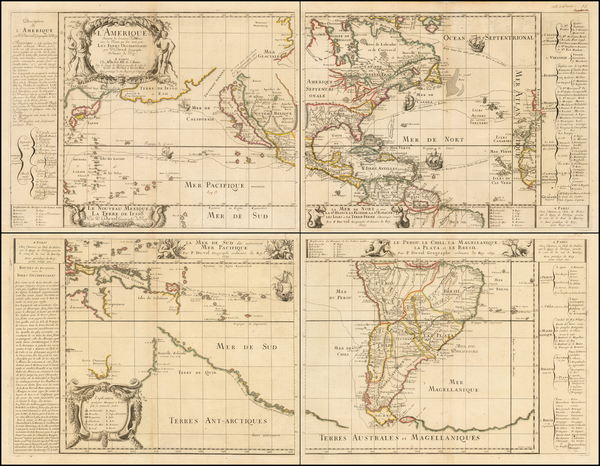 64-Western Hemisphere, Pacific, California as an Island and America Map By Pierre Du Val