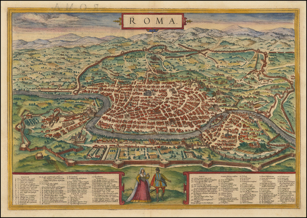 47-Rome Map By Georg Braun  &  Frans Hogenberg