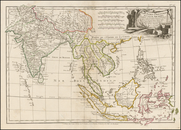 49-India, Southeast Asia, Philippines and Indonesia Map By Jean Lattre