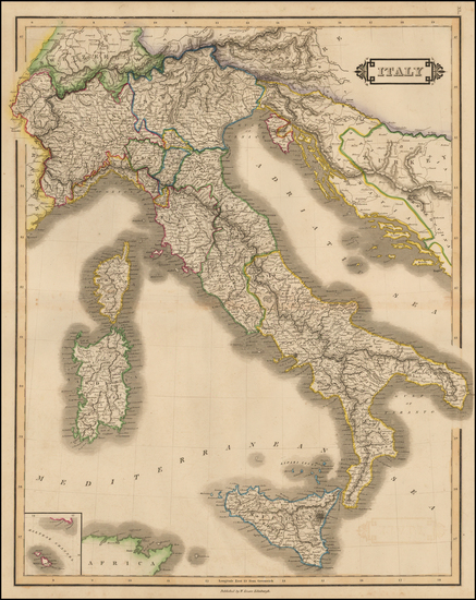47-Italy and Balearic Islands Map By William Home Lizars