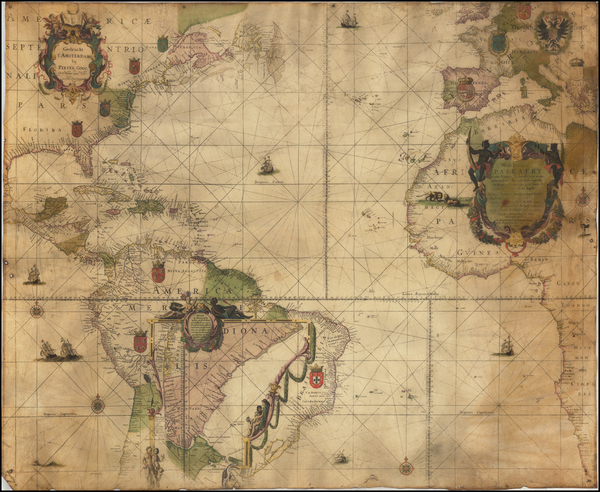 Atlantic Ocean, New England, Mid-Atlantic, Florida, South, Southeast, Texas, North America, Canada, Mexico, Caribbean, Central America, South America, Brazil, Europe, Europe, Africa, Africa, North Africa, South Africa and West Africa Map By Willem Janszoon Blaeu / Pieter Goos / Johannes Loots