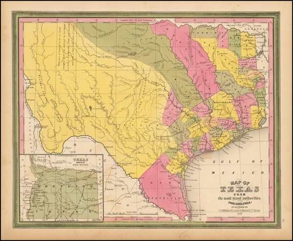 13-Texas Map By Samuel Augustus Mitchell
