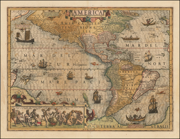 77-Western Hemisphere and America Map By Jodocus Hondius