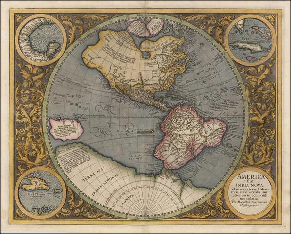 77-Western Hemisphere and America Map By Michael Mercator