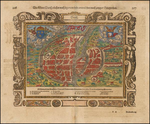 74-Paris Map By Sebastian Munster