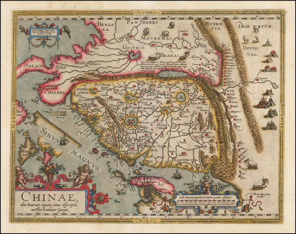 88-China, Japan, Southeast Asia and Philippines Map By Abraham Ortelius