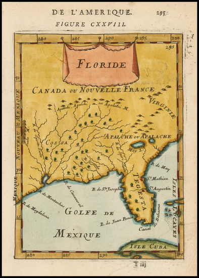 83-Florida and Southeast Map By Alain Manesson Mallet