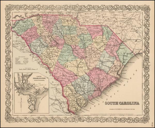 6-South Carolina Map By Joseph Hutchins Colton