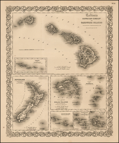 86-Hawaii, Hawaii and Other Pacific Islands Map By Joseph Hutchins Colton
