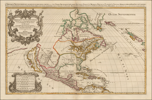 38-North America and California Map By Alexis-Hubert Jaillot