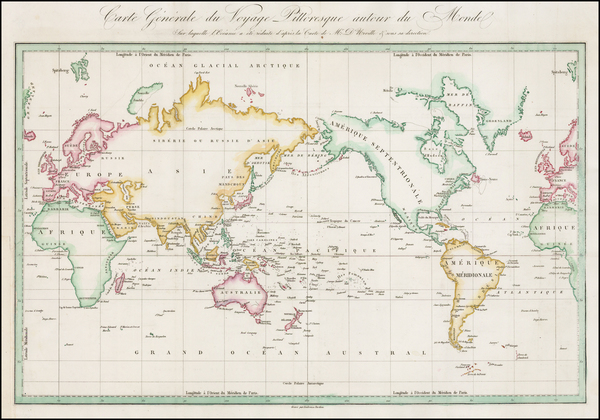 19-World and World Map By Jules Sebastian Cesar Dumont-D'Urville