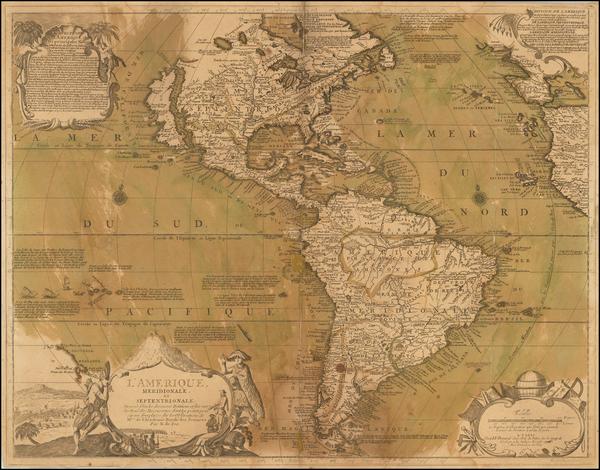 74-South America and America Map By Nicolas de Fer / J.F. Bernard